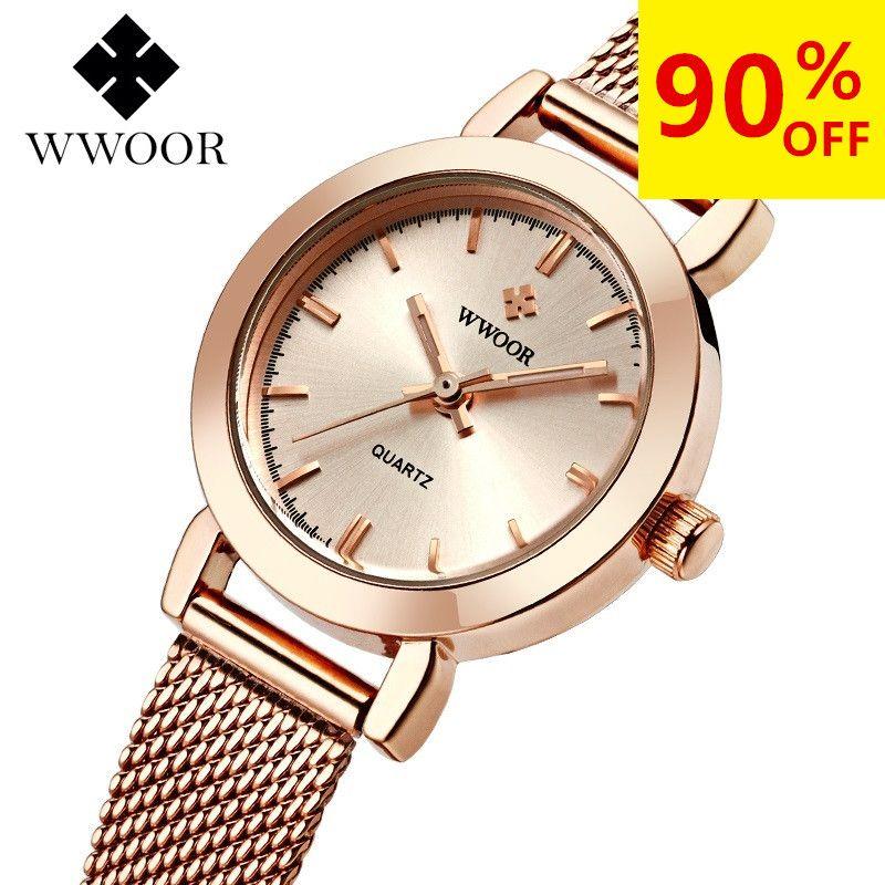 WWOOR Women Dress Watches Luxury Brand Ladies Quartz Watches Steel Mesh Band Casual Gold Bracelet Wristwatch Relogio Feminino