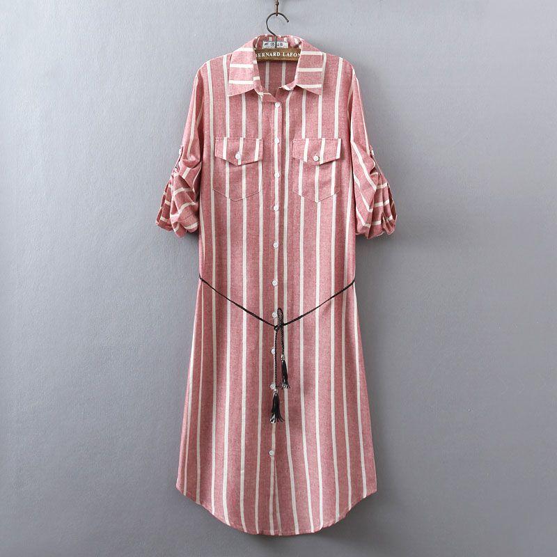 Nouvelle Chemise de Femmes Robe Printemps et L'été 2018 Occasionnel Lâche rayures Verticales à manches longues Coton et Lin Robe plus la Taille Femelle