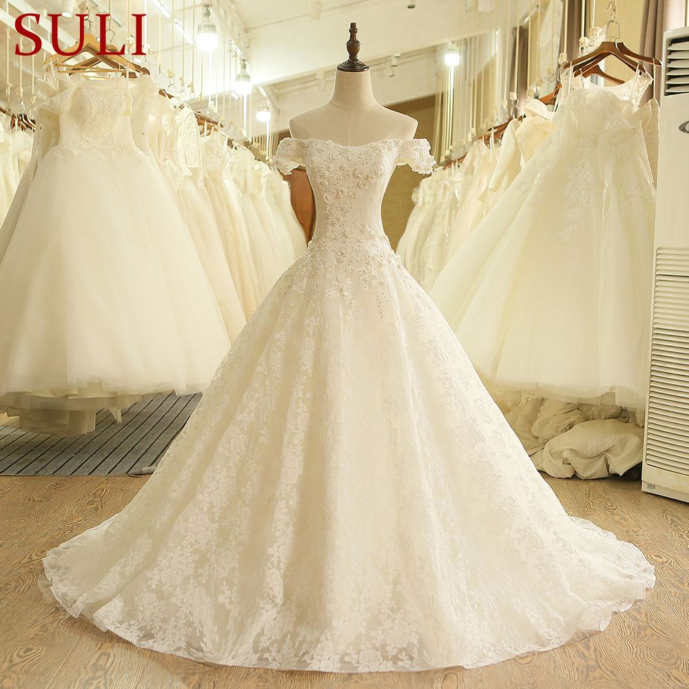 SL-407 High Quality A-Line Vintage Lace China Wedding Dress 2017