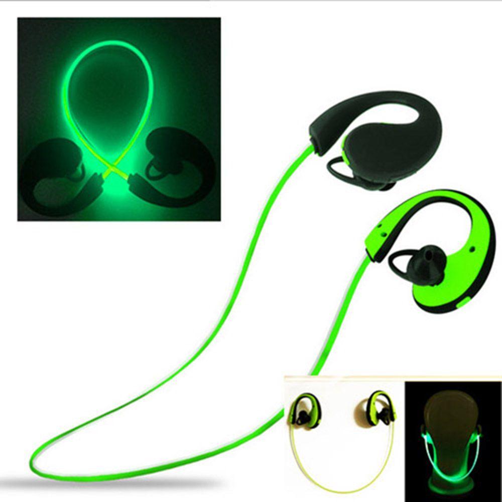 LightingCool bluetooth light headphones with mic wireless led sport headphones over ear bluetooth neckband earphone for runners