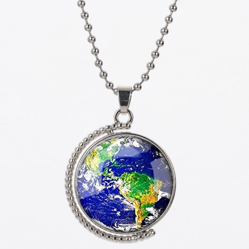LVS2 earth shape pendant necklace for women and man resin 925 silver good qulaity