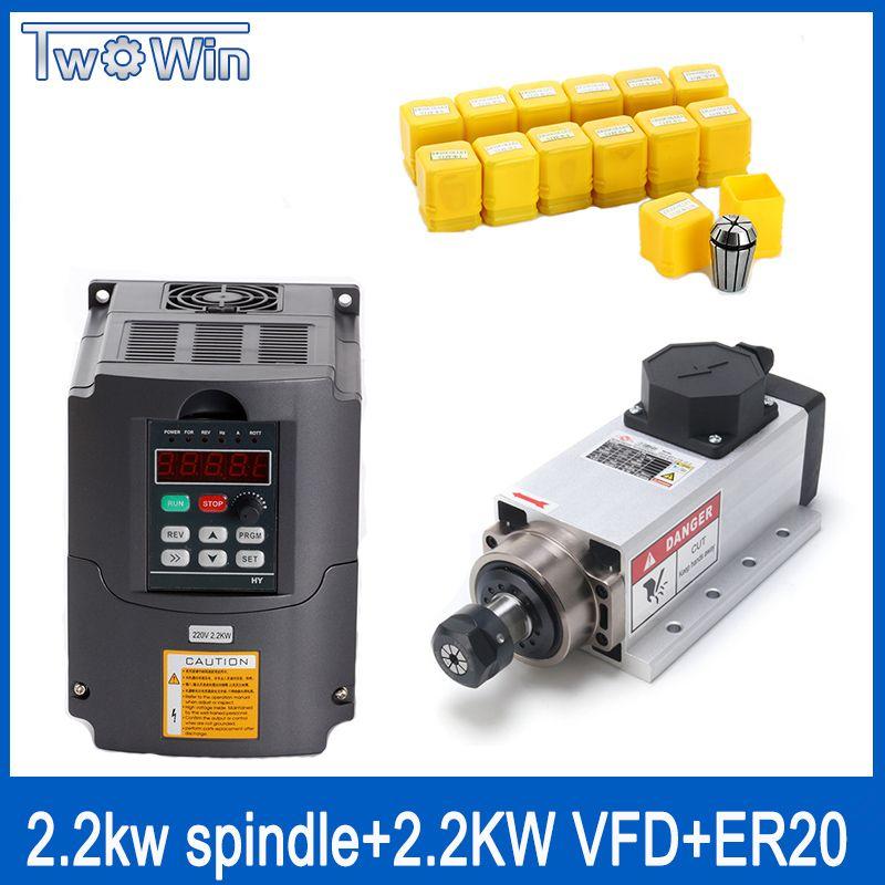 2.2kw Air-cooled square spindle motor kit 2200w spindle +2.2kw 220V inverter + ER20 collet air spindle motor engraving milling