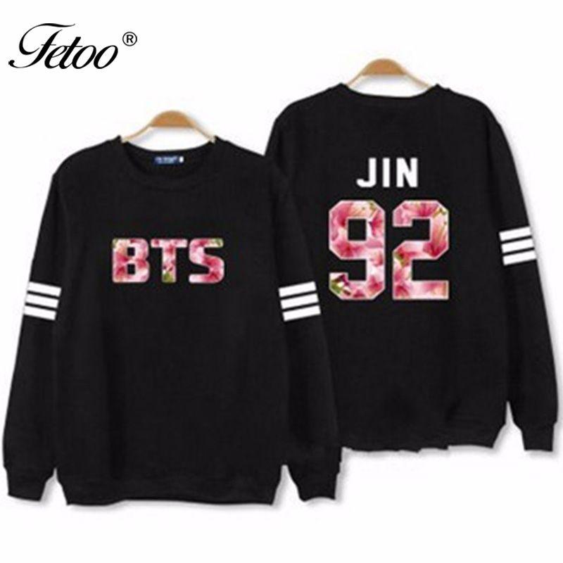 Fetoo Kpop BTS JIN Hoodies Womens O <font><b>Neck</b></font> Long Sleeve Sweatshirts Women Letter Print Tracksuit Pullovers S-2XL Hoody Spring P35