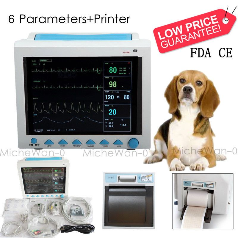 Portable ICU CCU CMS8000 with Printer Veterinary Patient Monitor Vital Signs Vet Monitor,6-parameters
