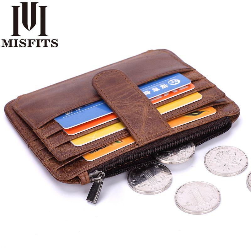 MISFITS Männer Vintage Geldscheinklammern Echtes Leder Kleine Brieftaschen Unisex Kreditkarte & ID Halter Kuh Leder Mini Geldbörse tasche