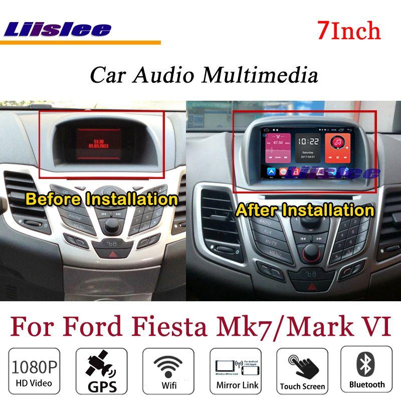 Liislee Für Ford Fiesta Mark VI Stereo Android Radio DVD-Player 3g Wifi BT GPS KARTE Navigation 1080 p system Original NAVI Design