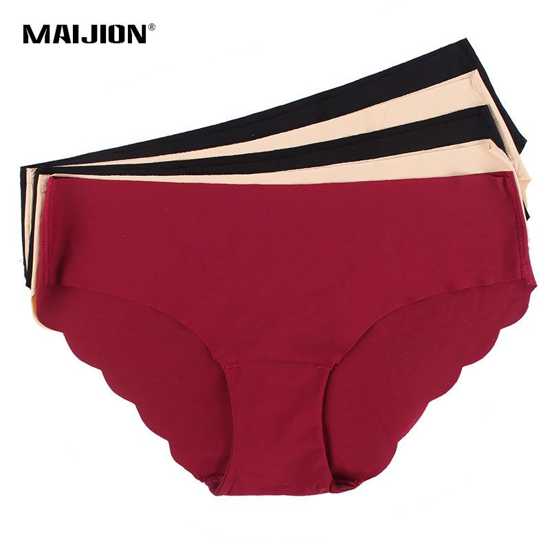 MAIJION Women's Sexy Seamless Underwear Briefs,Ultra-thin Traceless Solid Comfortable Female Panties Intimates 5Pcs/Lot