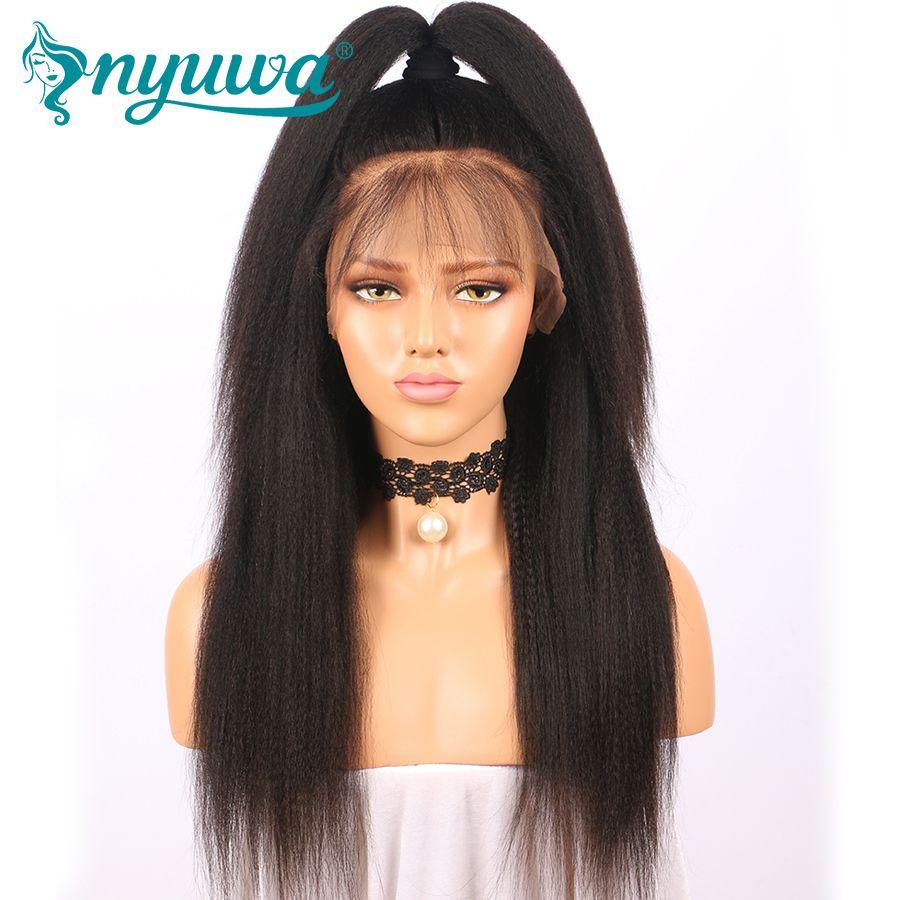 Nyuwa 250% плотность 360 Синтетический Frontal шнурка волос Парик предварительно сорвал странный прямо бразильский Человеческие волосы парик отбел...