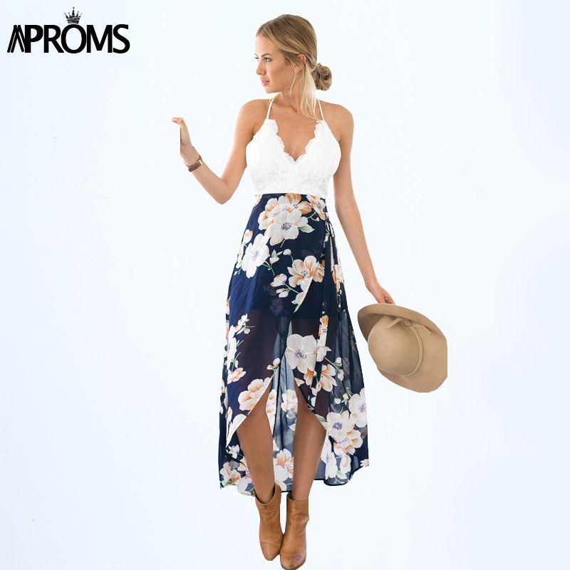 Aproms femmes robes d'été Sexy col en v blanc dentelle Patchwork Floral robe de soirée robes d'été longue en mousseline de soie robe de plage