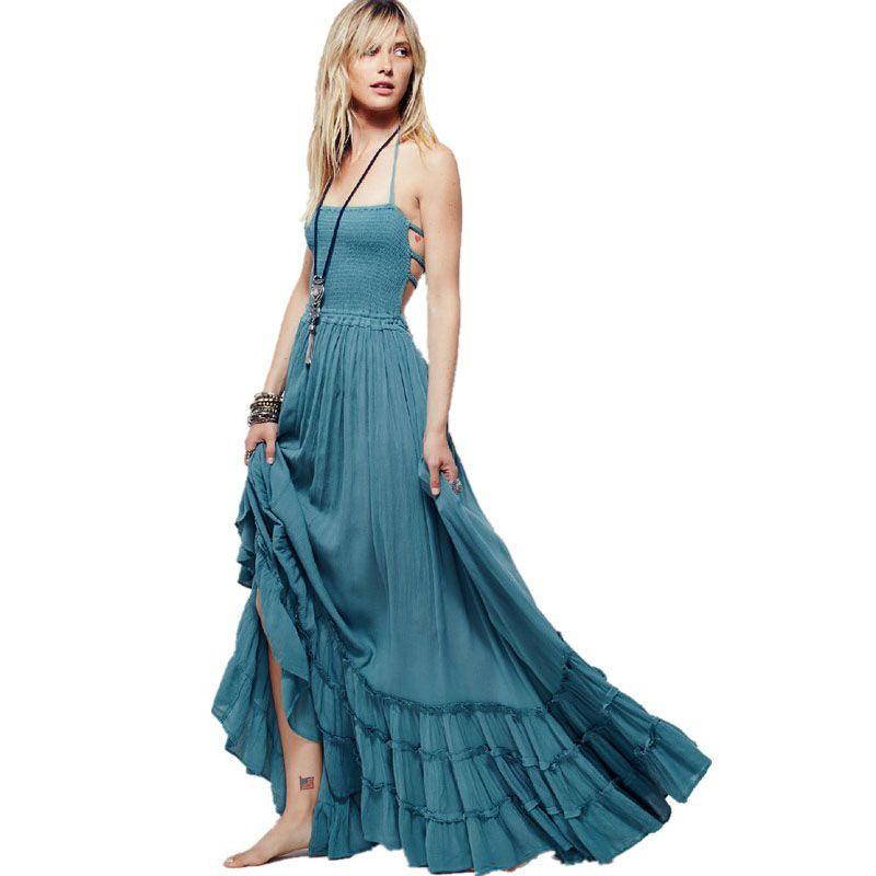 Boho Chic longue robe licou en mousseline de soie femmes dos nu 2019 Maxi robes de plage porter Mori fille Vestidos Sexy Split plage robe d'été