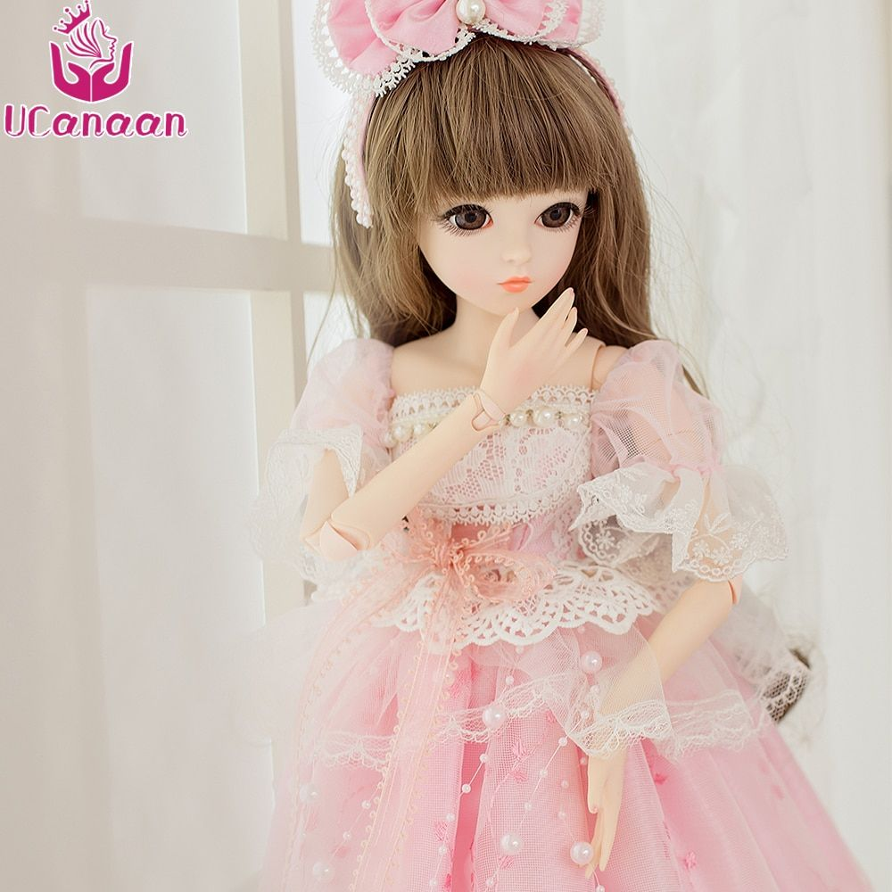 UCanaan 1/3 BJD Doll Wig&Makeup Toys for Girls SD Dolls 18 Joints Body Beauty  Handmade Clothes Shoes  Princess Dolls