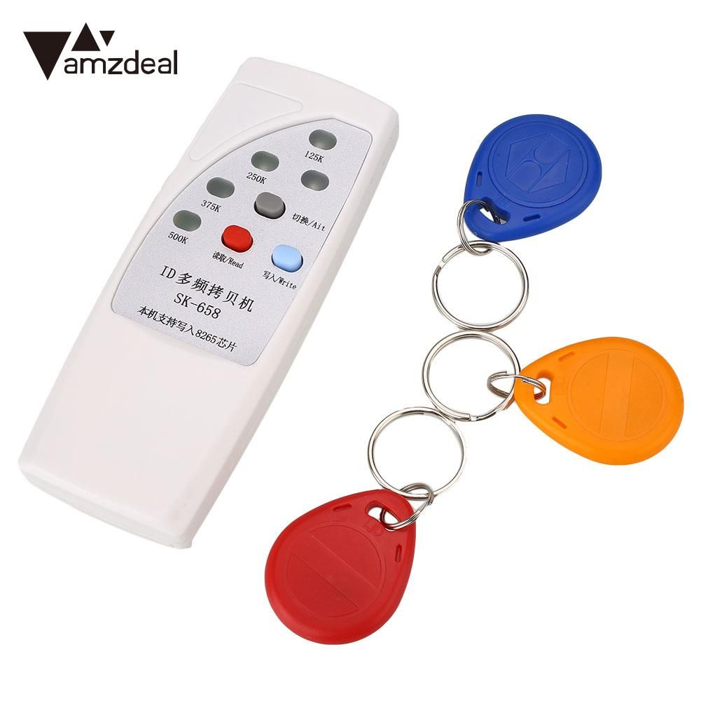 Amzdeal Weiß RFID Handheld 125 KHz ID Türzugangskarte Kopierer Writer Duplizierer Cloner mit 3 Beschreibbar Karten