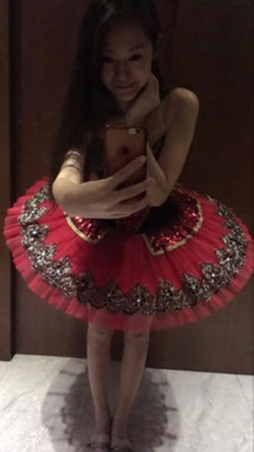 Sequin Classical Ballet tutus Red Adult Ballerina Dance clothing for girls Kids Swan Ballet Tutu for performance