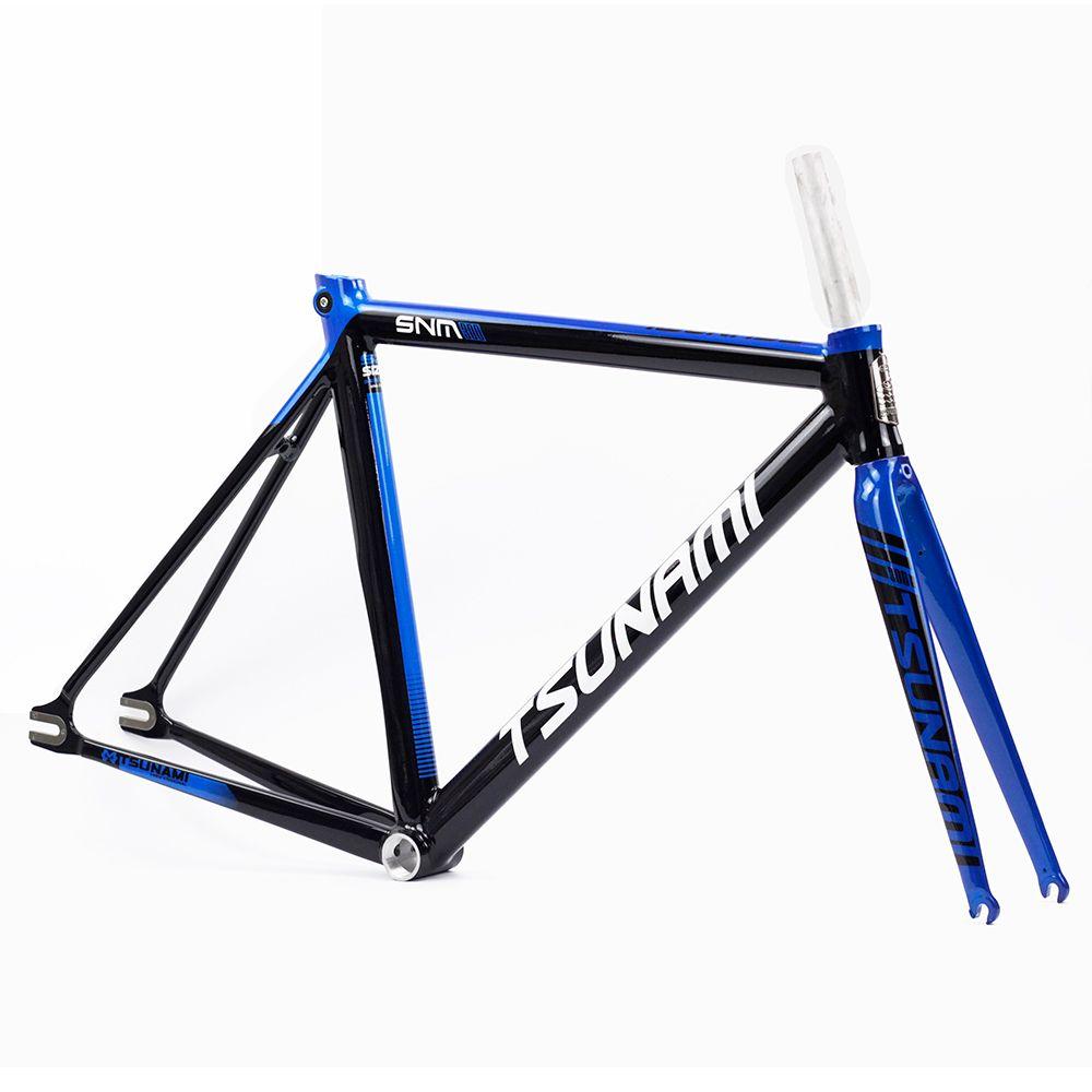 TSUNAMI Aluminium Fixed Gear Frameset Fork 700c x 52cm 54cm Fixie frame Track High Quality Bicycle Parts