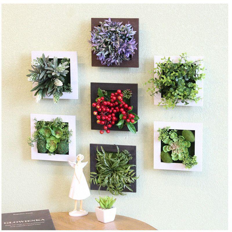 3D Creative metope plantes succulentes Imitation bois cadre photo décoration murale fleurs artificielles décor maison salon