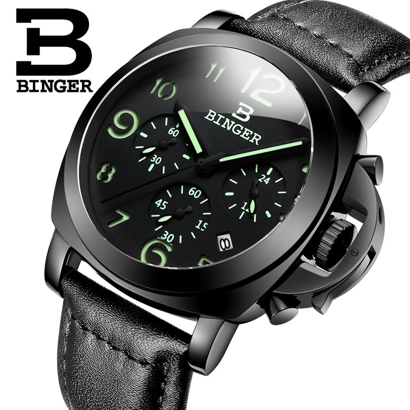 Genuine Luxury BINGER Brand Men leather strap luminous waterproof sport Chronograph calendar military watch large dial all black