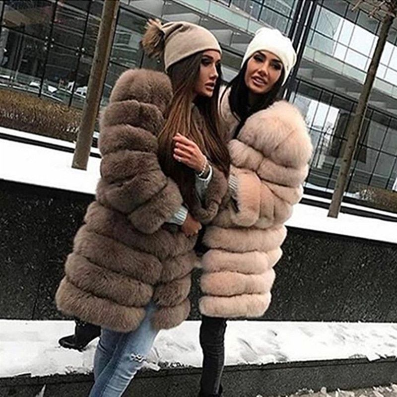 BFFUR Real Fox Fur Coat is 90 cm Thick Warm Genuine Fur Slim Capped Woman Clothing Winter 2018 Fashion Casual O-Neck Plus Size