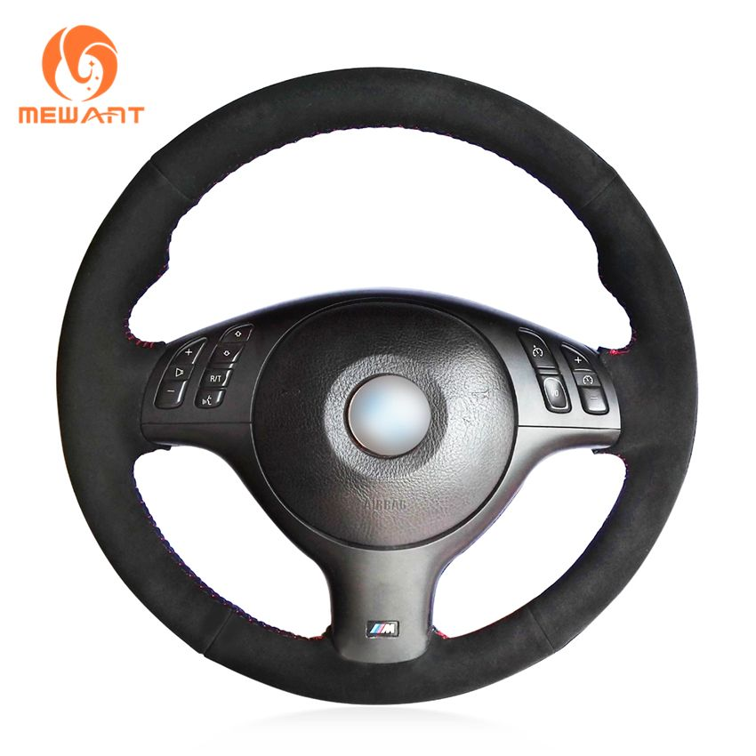 MEWANT Black Suede Car Steering Wheel Cover for BMW E46 E39 330i 540i 525i 530i 330Ci M3 2001-2003