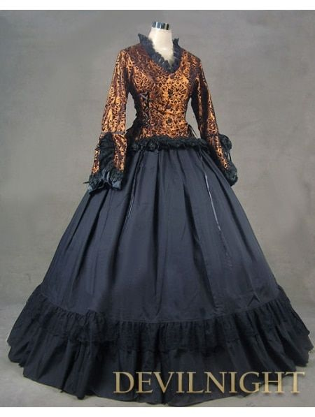 Romantic Vintage Long Gowns Sleeves Gothic Victorian Dress