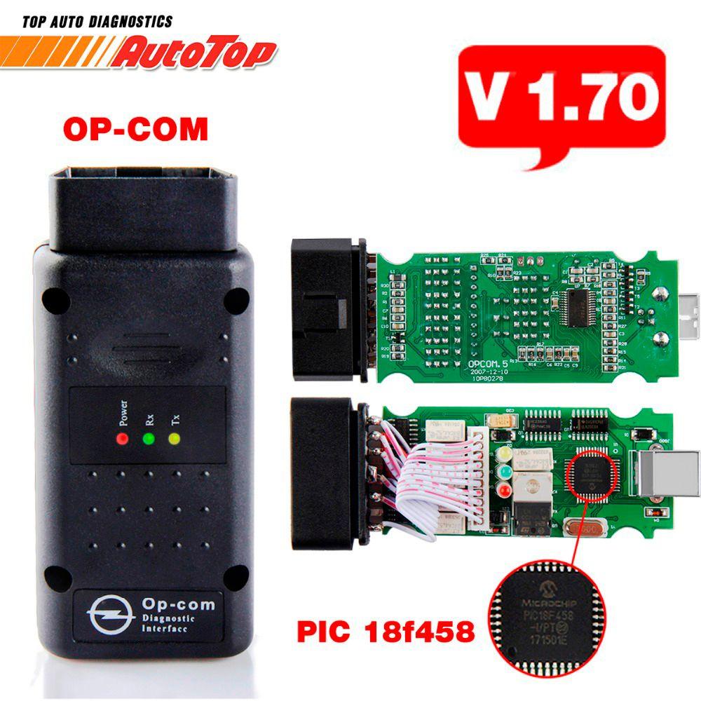 2017 V1.70 OPCOM para Opel OP COM OBD2 de Diagnóstico Del Coche OP-COM para Opel Herramienta de Diagnóstico escáner con Real PIC18f458 Flash Firmware