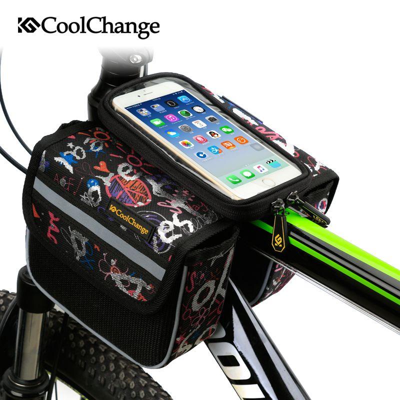 CoolChange haute qualité vélo vélo avant cadre sac Tube sacoche Double poche pour téléphone portable vélo accessoires sac d'équitation