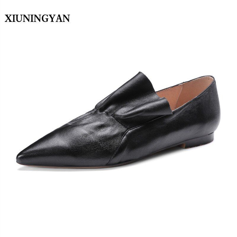 XIUNINGYAN Genuine Leather Shoes Women Pleated Flats Women Pointed Toe Ballet Ladies Flats Autumn Causal Boat Shoes Black Red