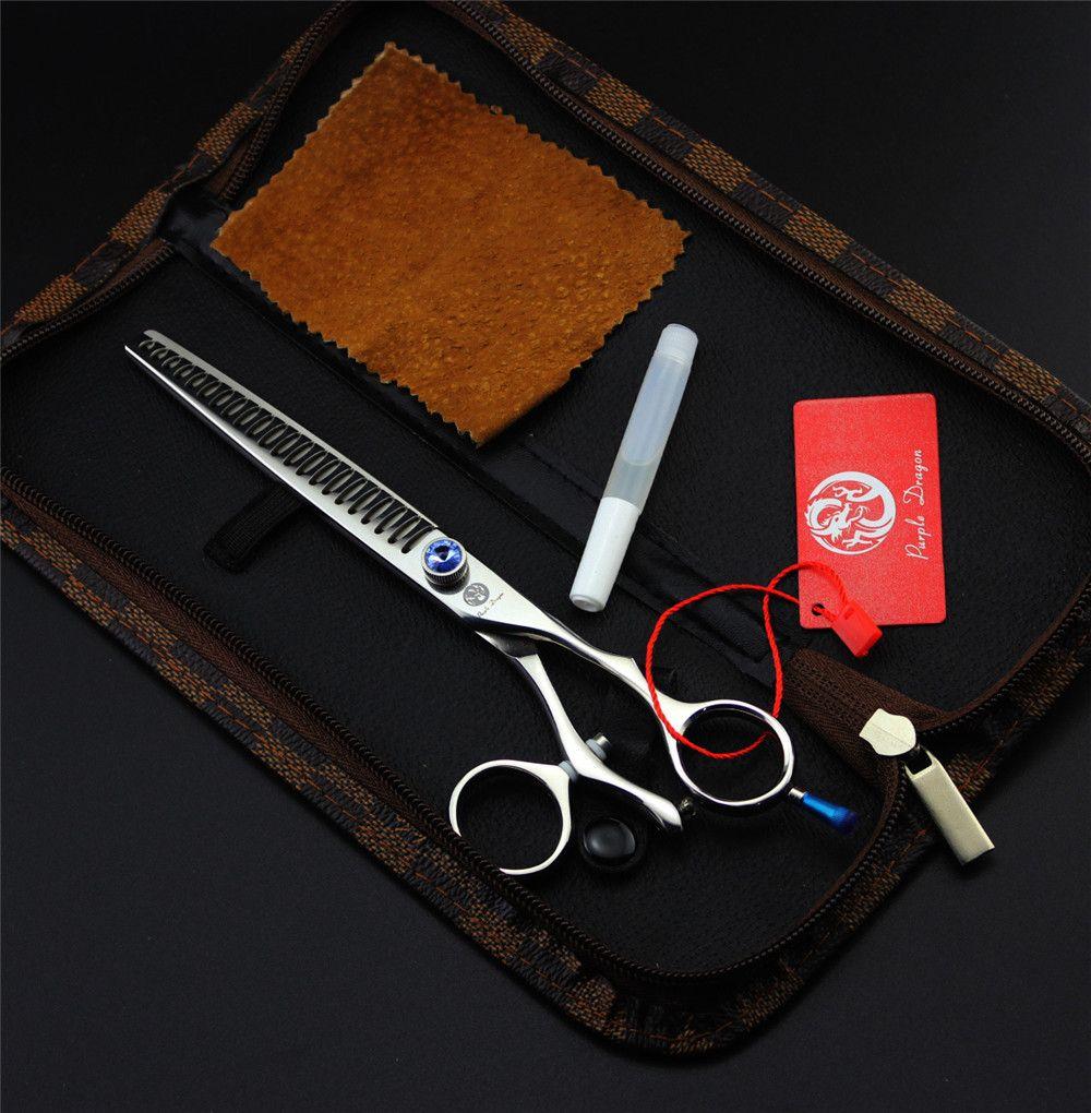 7,5 zoll Lila Drache Hundesalon Effilierschere Drehdaumenring Professionelle Japan Haar-ausschnitt-scheren Tesoura Fall Kits