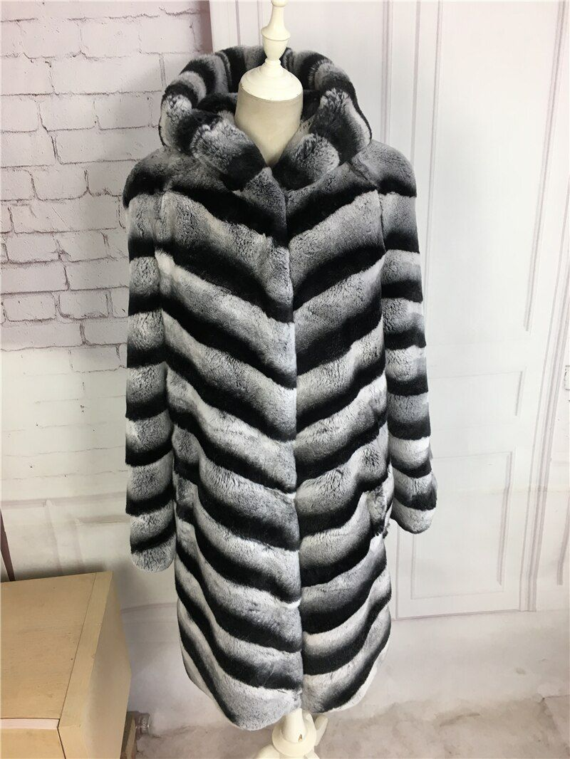 2017 neue winter Chinchilla Rex Kaninchen Pelzmantel mit kapuze Mittel-langen Mantel Echten pelzmantel