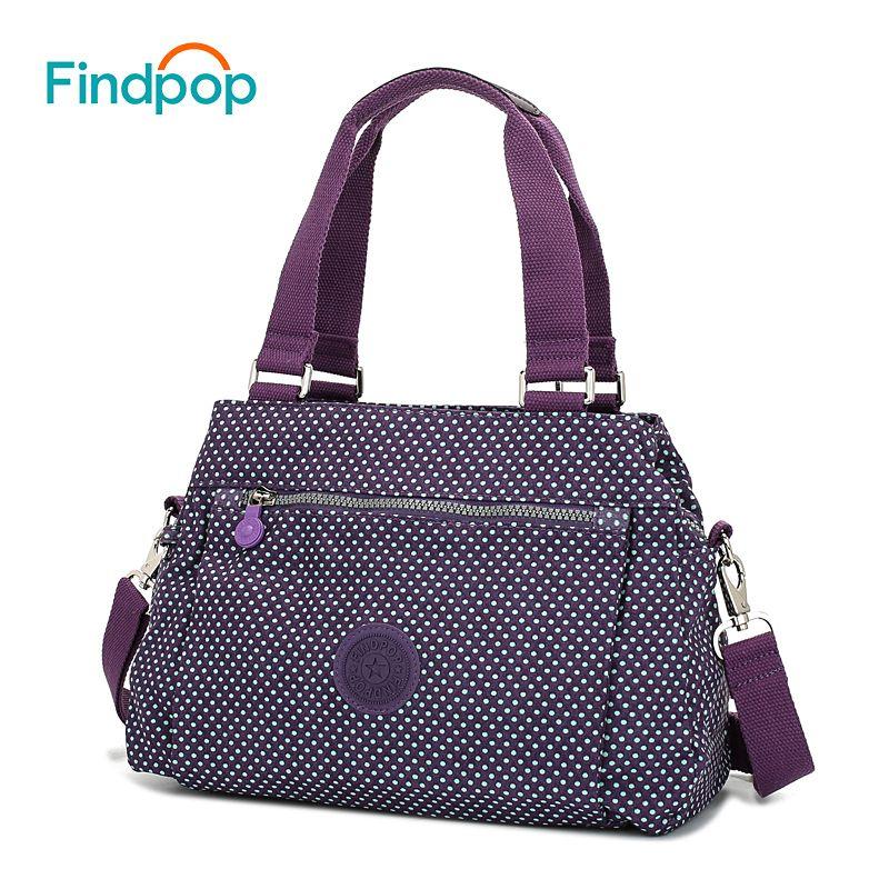 Findpop Floral Printing Handbag Fashion Waterproof Nylon Crossbody Bag For Women 2018 Large Capacity Casual Shell Top-Handle Bag