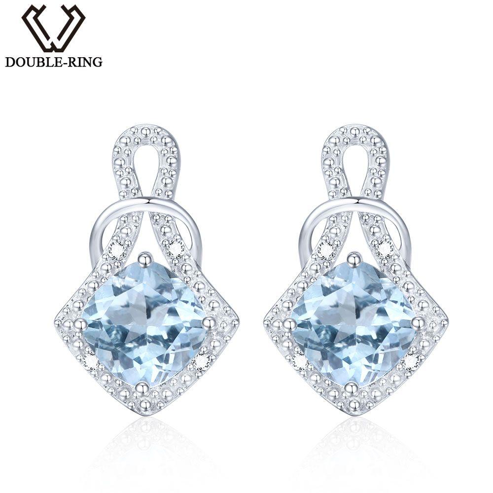 DOUBLE-R Genuine Natural Blue Topaz 925 Sterling Silver Earrings Gemstone Earrings For Women Blue Earrings