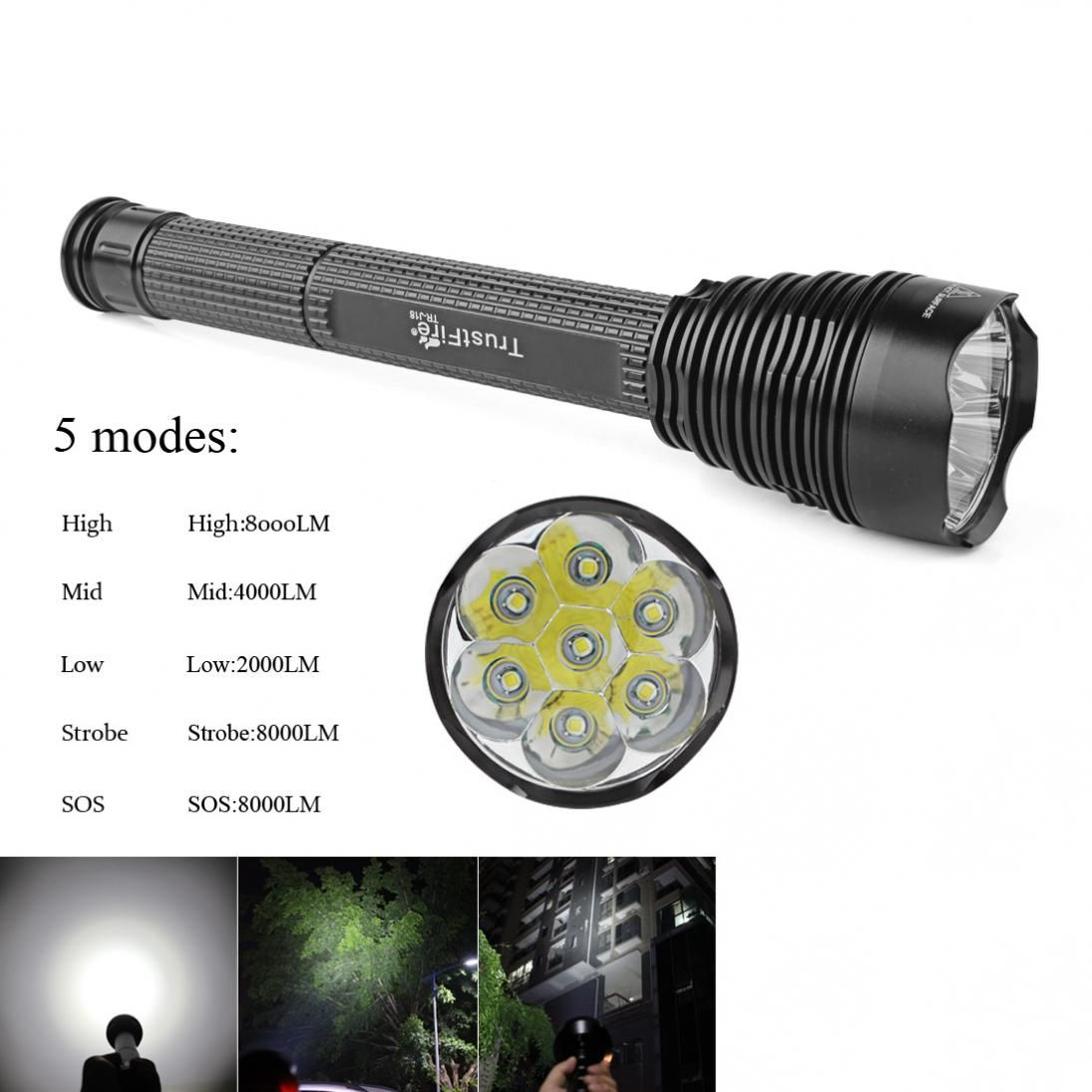 Sale TrustFire J18 7 x XM_L2 Super Bright 8000Lm 5 Modes Waterproof Extended LED Flashlight 18650 / 26650 Torch Light