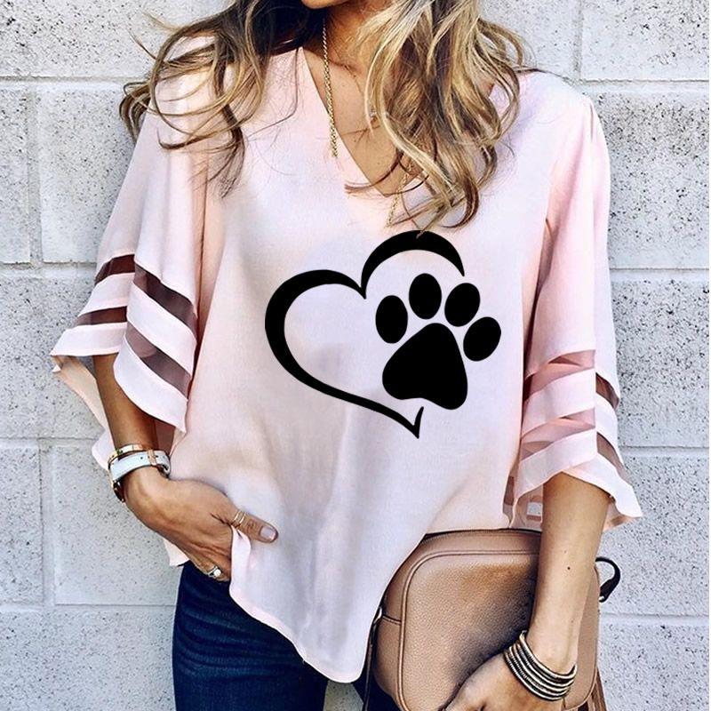 2019 Dropshipping New Fashion Dog Paw Print Women Sexy V-neck Splicing Hollow Plus Size T-Shirt Female Tops Half Sleeve Shirts