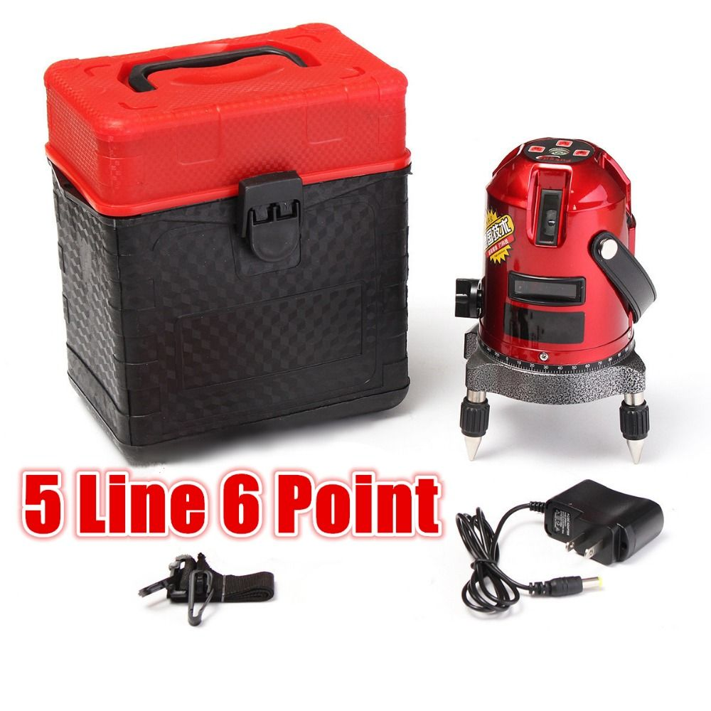 5 Line 6 Point 4V1H Cross Line Red Shockproof Automatic Self Leveling Laser Level Measure Meter Kit High Quality