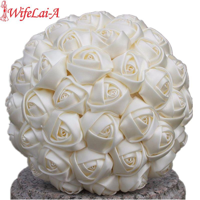 WifeLai-Un 1 Pièce Simple Crème Ivoire Bouquets De Mariée En Soie Artificielle Fleurs Demoiselle D'honneur/Mariée Bouquet Décoration Personnalisée W223