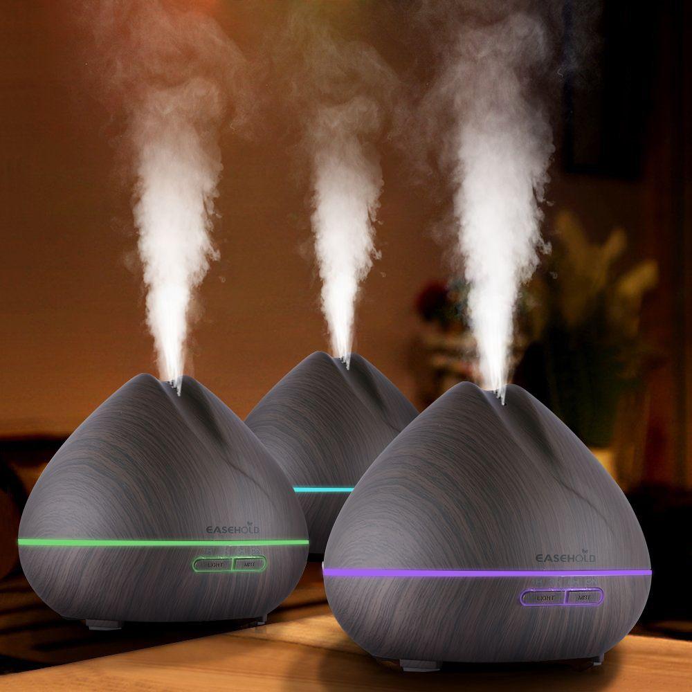 Humidificateur d'air ultrasonique de diffuseur d'huile essentielle d'arome de EASEHOLD 400 ml avec le Grain en bois 7 lumières de LED de changements de couleur pour la maison de bureau