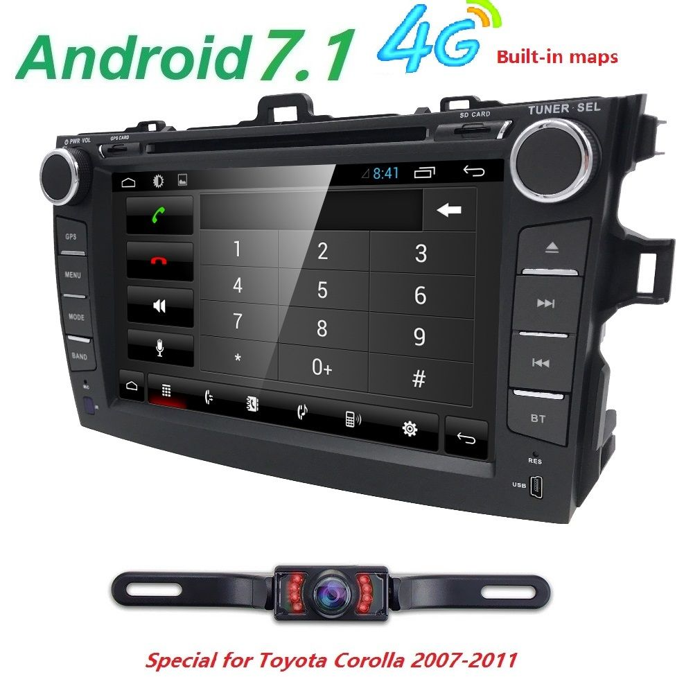 For Toyota Corolla Android 7.1 Quad core 2 Din Car DVD stereo GPS with Capacitive screen WIFI 4G GPS Car radio Mirror-link DVB-T
