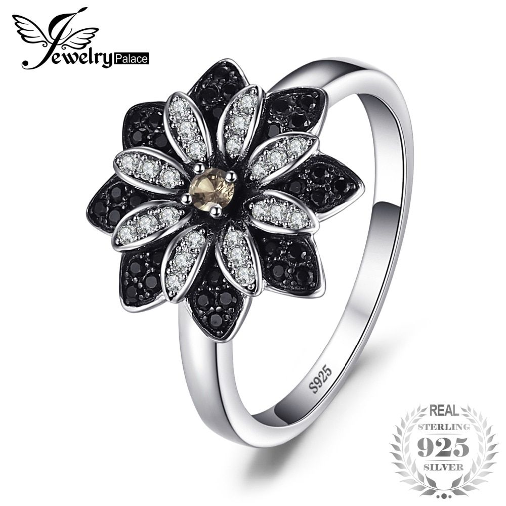 JewelryPalace Flower Natural Taupe Smoky Quartz Black Spinel Cocktail Ring 925 Sterling Silver New Trendy Fine Jewelry For Women