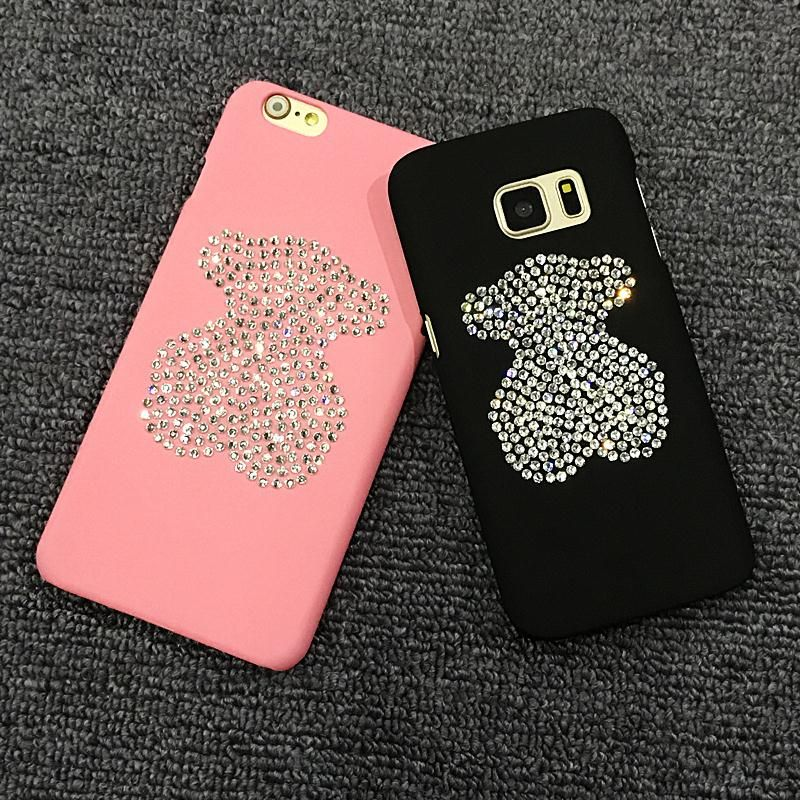 Spring Lemon Glitter Shine Bling Bling Diamond Bear Jewels Luxury DIY Case For iPhone 7 7Plus 8 8Plus 6 6S 6PLUS X Samsung S8 S7