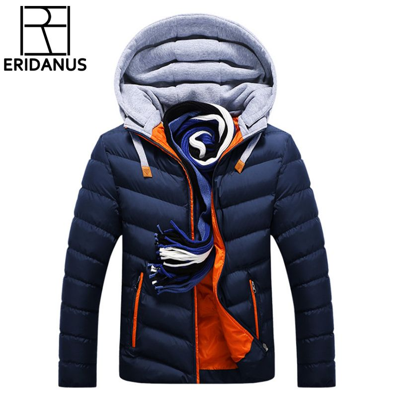 Winter Jacket Men Hat Detachable Warm Coat Cotton-Padded Outwear Mens Coats Jackets Hooded Collar Slim <font><b>Clothes</b></font> Thick Parkas X327