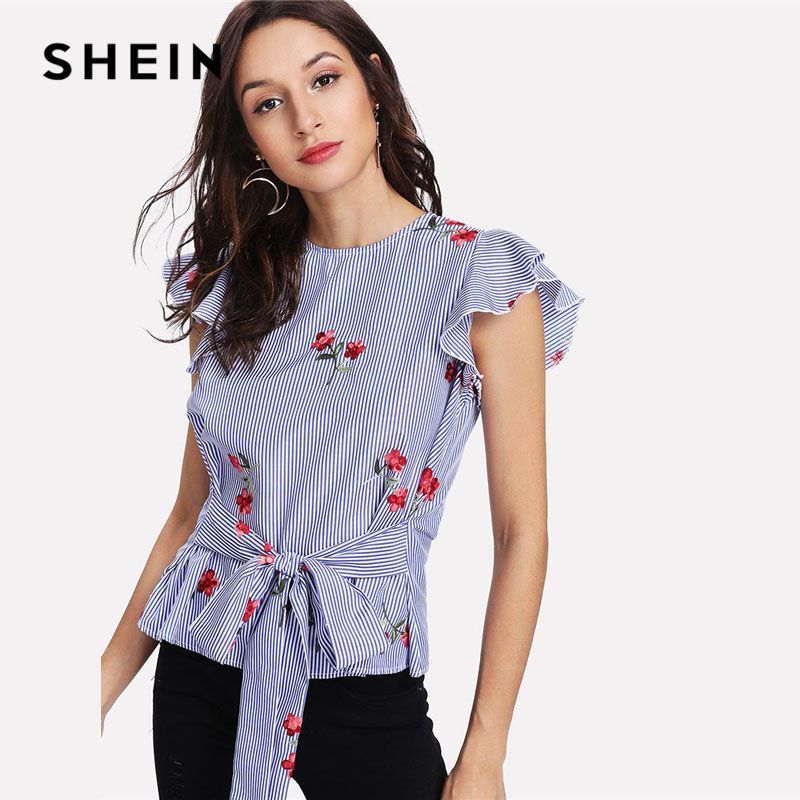 SHEIN Blue Tie Waist Bow Embroidered Striped Top Casual Round Neck Cap Sleeve Ruffle Women Blouse Floral Butterfly Sleeve Blouse