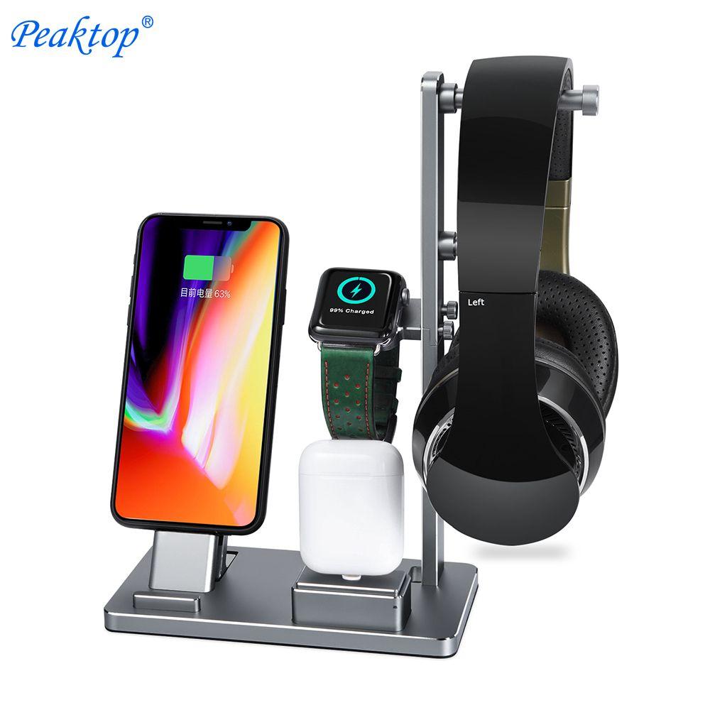 Peaktop Ladestation Ständer Halter Bahnhof für Kopfhörer AirPods IPad Apple Uhr iWatch Serie 1 2 3 iPhone 10X8 7 6 6 S Plus