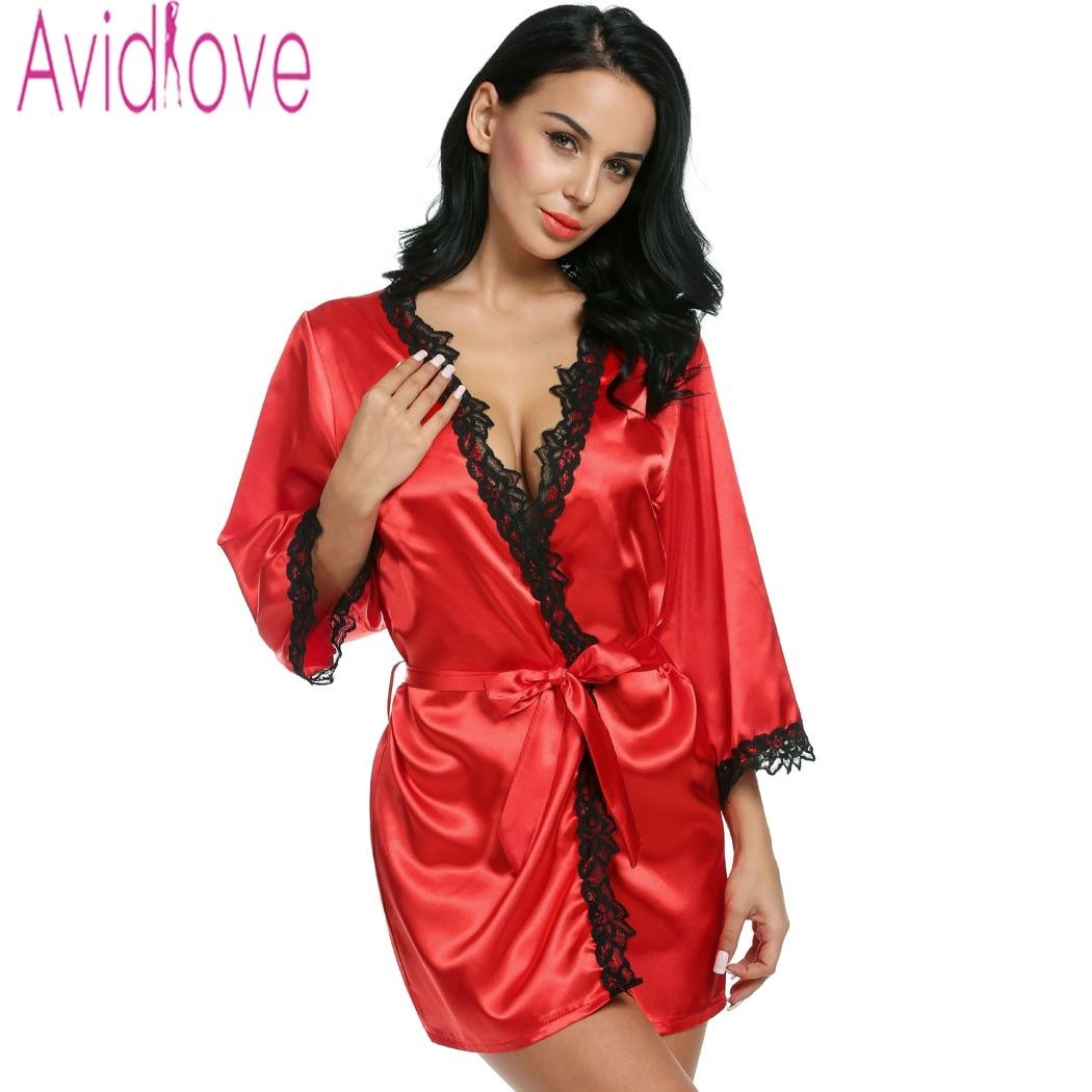 Avidlove Brand Robes Women Sexy Nightwear Plus Size Lace-trimmed Satin Female Bathrobes Lounge Robe Casual Loose Home Clothing