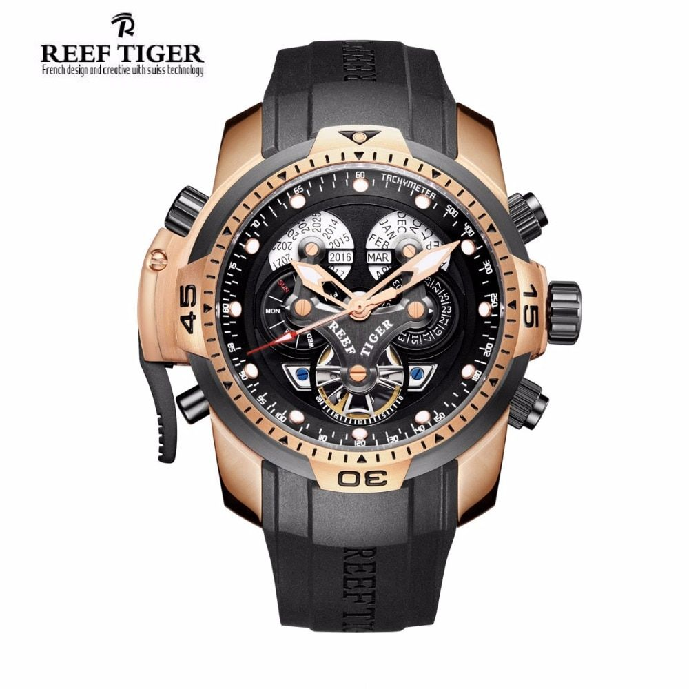 Reef Tiger/RT Designer Watches for Men Big Dial Complicated Watch with Perpetual Calendar Rubber Strap Watch RGA3503