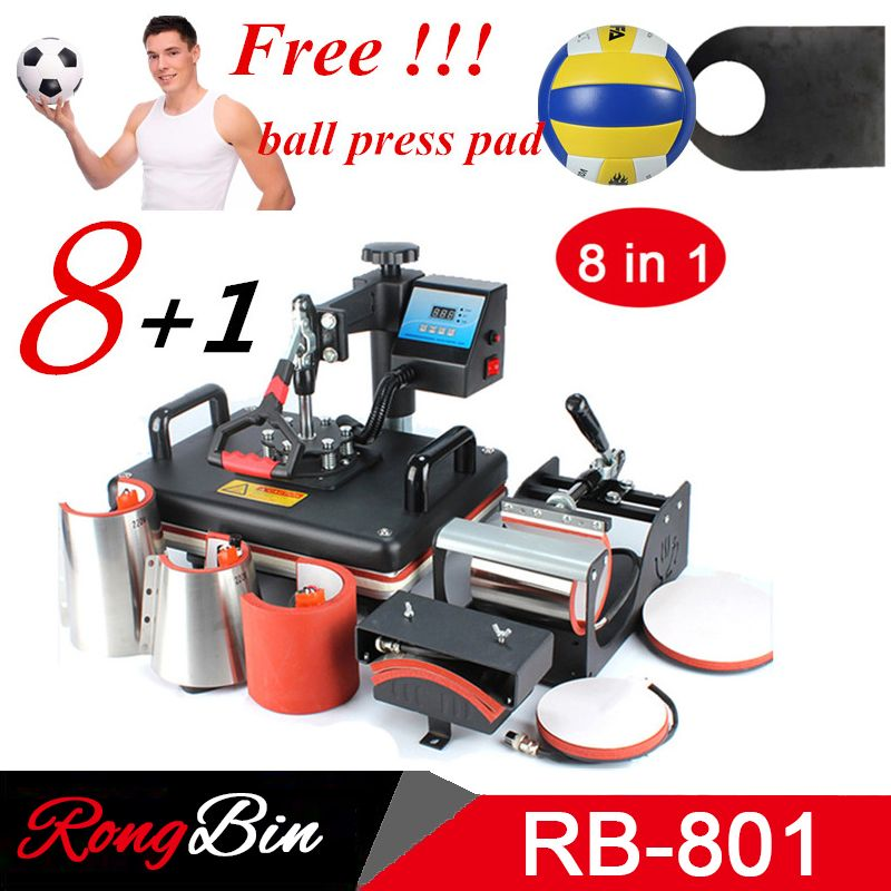 Pas cher 8 en 1 Combo presse à chaud Machine Sublimation imprimante 2D transfert de chaleur Machine pour t-shirts tasse plaque Cap coque de téléphone Football