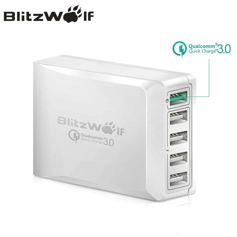 BlitzWolf BW-S7 Quick Charge QC3.0 Adapter USB Charger Smart 5 Port Desktop Charger Mobile Phone <font><b>Travel</b></font> Charger For Smartphone