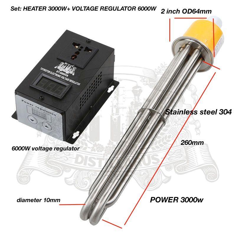 Set 3,0 kW, 4.5kW, 6kW 220/380 V, tri-clamp 2 OD64 heizung SS304. Elektrische heizung und spannungsregler 6000 Watt