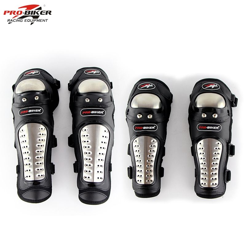 Pro-Biker Stainless Steel Dirt Bike Elbow Knee Pads Motorcycle Knee Protector Motocross Protection Guards Equipment P15