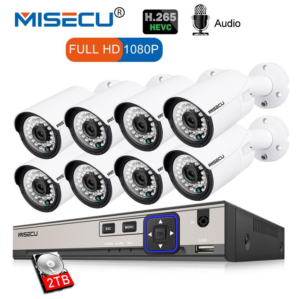 MISECU 8CH 1080P CCTV Camera System Audio Record 2MP Bullet PoE IP Camera Waterproof Outdoor Night Vision Video Surveillance Kit