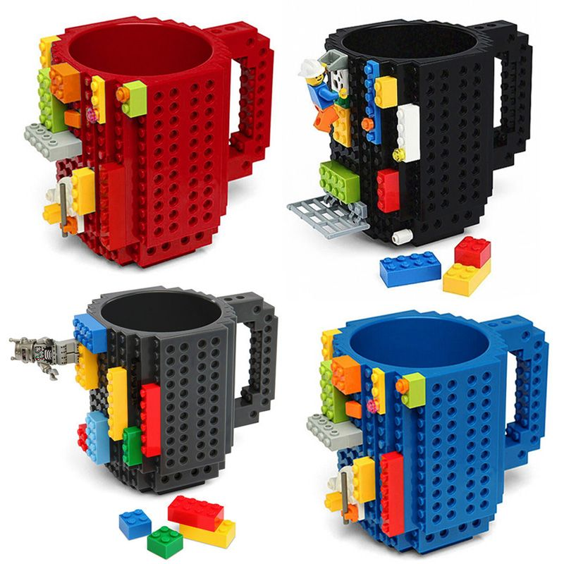 350ml Creative Lego Coffee Mugs silicone stainless steel Travel Kids Adult Cutlery Drink Dinnerware Set for Child New Year Gift