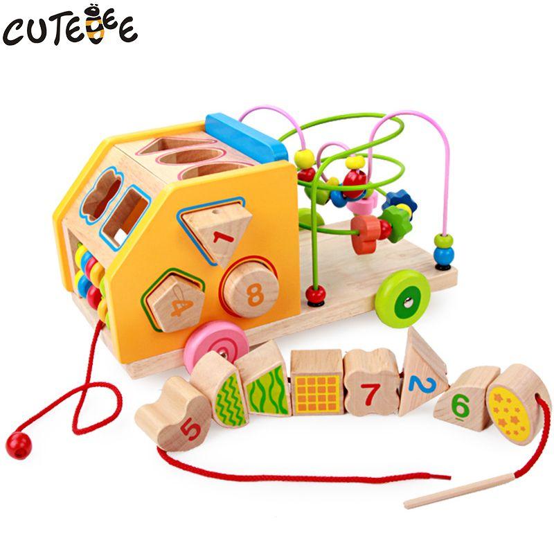 Cutebee деревянные игрушки для детей монтессори игрушка-головоломка кубик Многофункциональный Форма соответствия Интеллект коробка для дете...